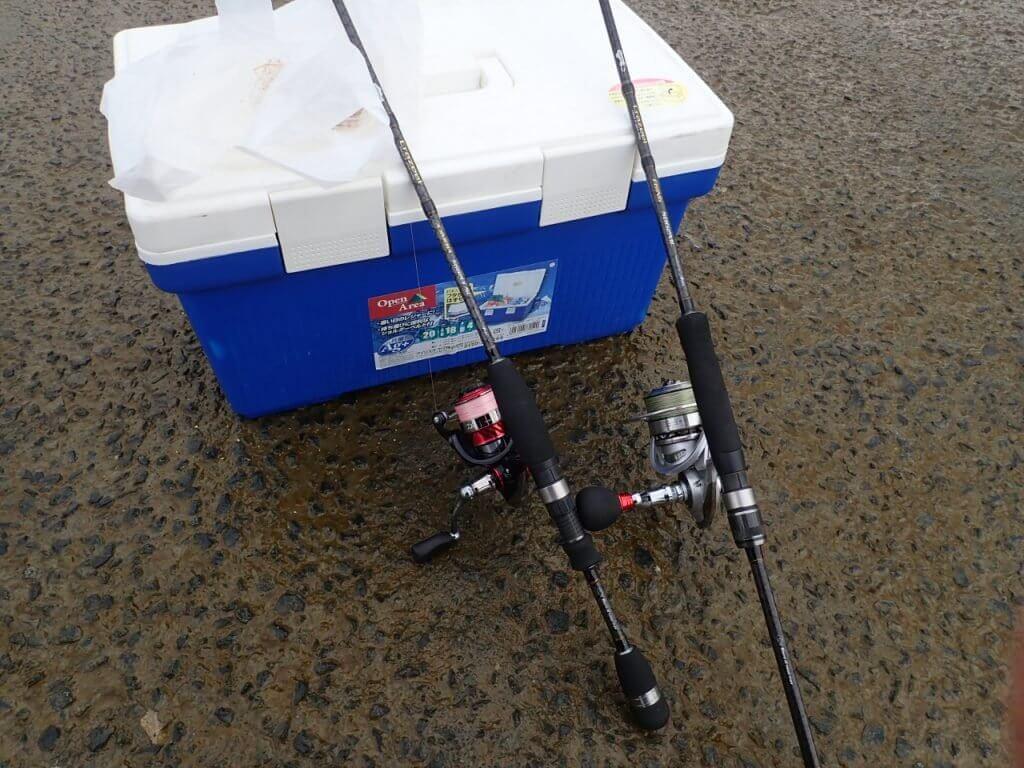 ハゼクチ釣りのために放置している釣り竿