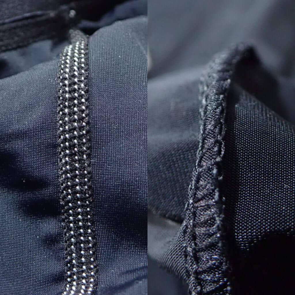 アイスアーマーとクールシールドNEOの裏面の縫い合わせの比較