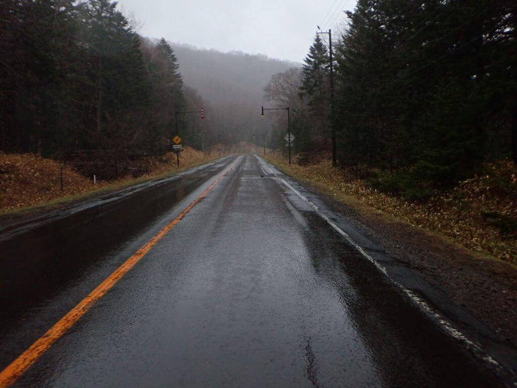 冷たい雨が降る朝イチの道路