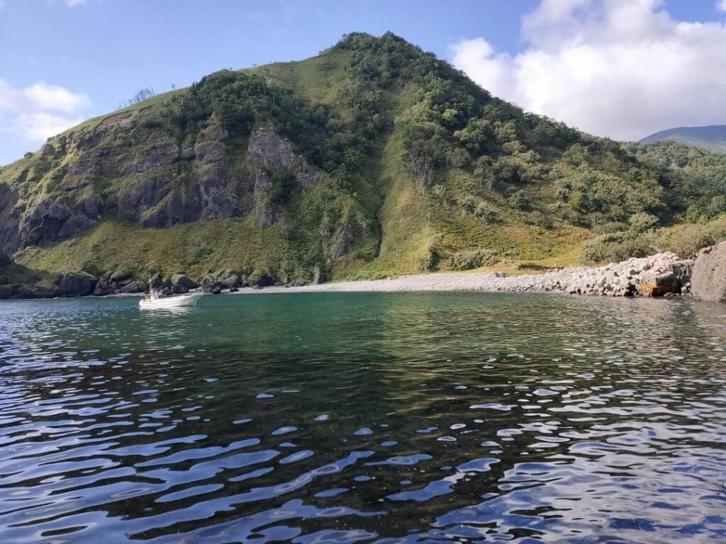 カラフトマスの釣り場となる入江